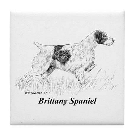 Brittany Spaniel Tile Coaster