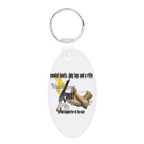 AF What Does Your Aunt Wear Aluminum Oval Keychain