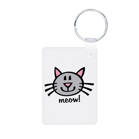 Lil Grey Cat Aluminum Photo Keychain