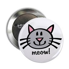 "Lil Grey Cat 2.25"" Button"