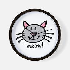 Lil Grey Cat Wall Clock