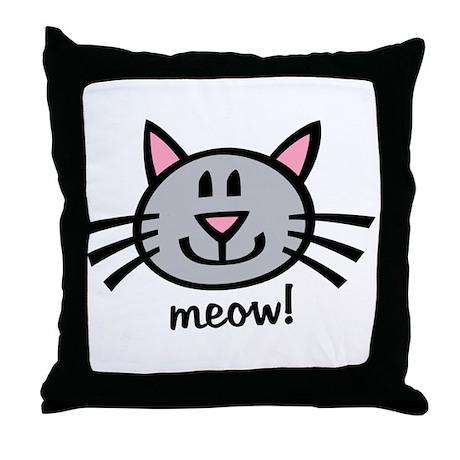 Lil Grey Cat Throw Pillow