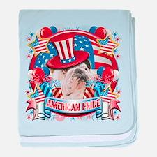 American Pride Bulldog baby blanket