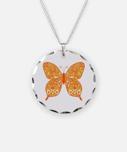 Paisley Butterfly Circle Necklace
