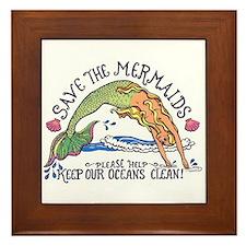 Save the Mermaids Framed Tile