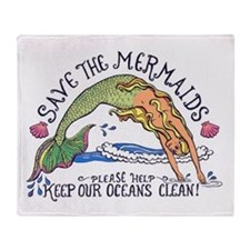 Save the Mermaids Throw Blanket