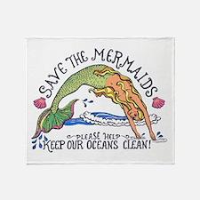 Save the Mermaids Throw Blanket