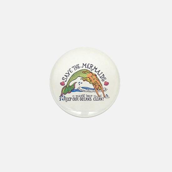 Save the Mermaids Mini Button