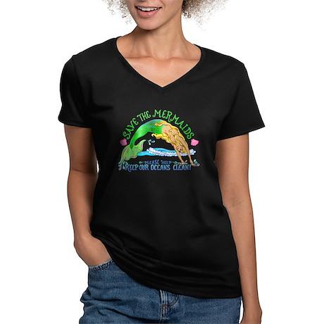 Save the Mermaids Women's V-Neck Dark T-Shirt