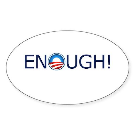 Enough! Blue Text Sticker (Oval 10 pk)