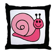 Pink Snail Throw Pillow