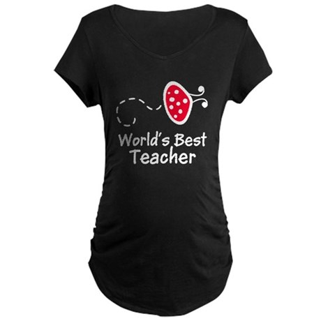 Ladybug Teacher Maternity Dark T-Shirt