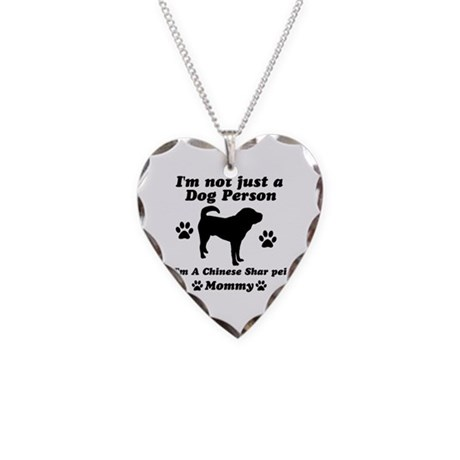 Chinese shar pei mommy Necklace Heart Charm