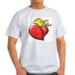 Burning Sacred Heart Ash Grey T-Shirt