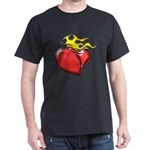 Burning Sacred Heart Black T-Shirt