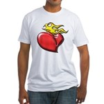 Burning Sacred Heart Fitted T-Shirt