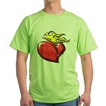 Burning Sacred Heart Green T-Shirt