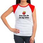 Jesus Loves Me And My Tattoos Women's Cap Sleeve T