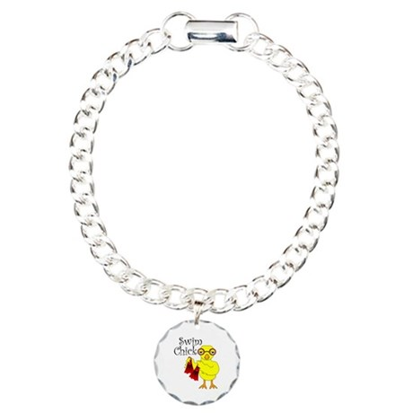 Swim Chick Text Charm Bracelet, One Charm