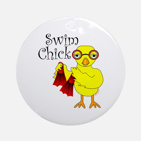 Swim Chick Text Ornament (Round)