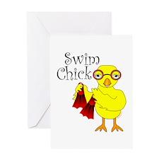 Swim Chick Text Greeting Card