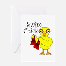 Swim Chick Text Greeting Card
