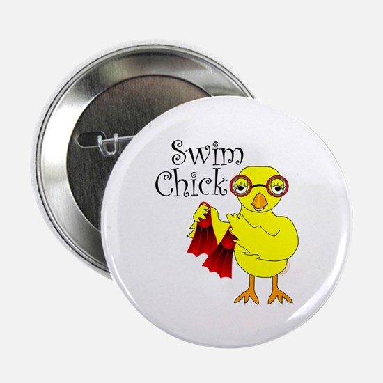 "Swim Chick Text 2.25"" Button"