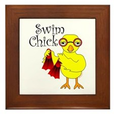 Swim Chick Text Framed Tile