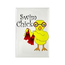 Swim Chick Text Rectangle Magnet