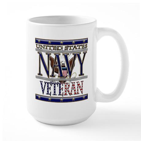 USN Navy Veteran Large Mug