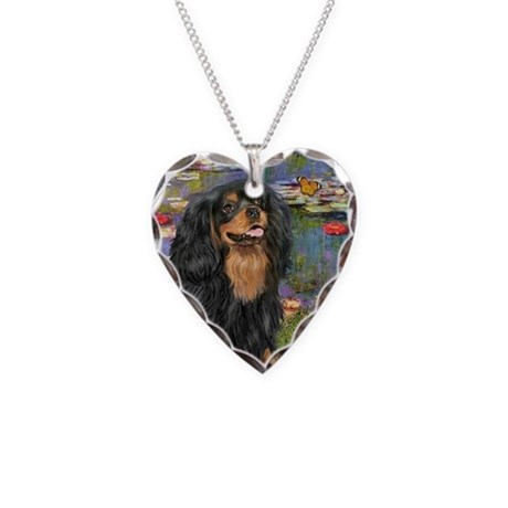 Lilies #2-Cavalier (Blk-Tan) Necklace Heart Charm