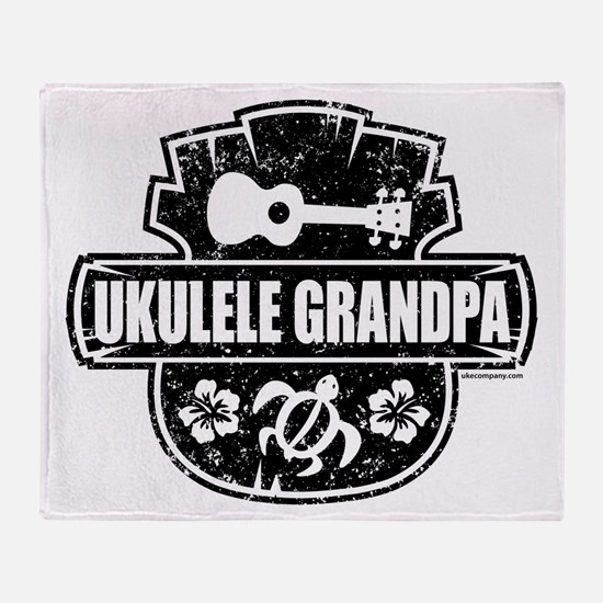 Ukulele Grandpa Throw Blanket