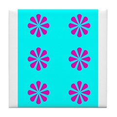 Colorful Spring & Things Blue Pink Tile Coaste