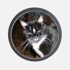 Black and White Cat Wall Clock