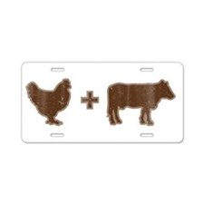 Brown Chicken Brown Cow Aluminum License Plate