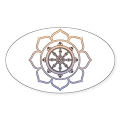 Dharma Wheel with Lotus Flowe Sticker (Oval 50 pk)