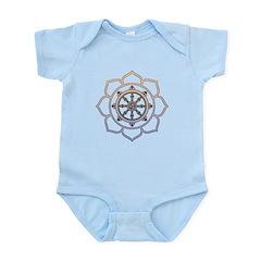 Dharma Wheel with Lotus Flowe Infant Bodysuit