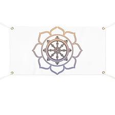 Dharma Wheel with Lotus Flowe Banner