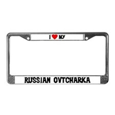 I Love My Russian Ovtcharka License Plate Frame