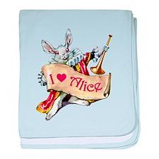 I LOVE ALICE - PINK EYES baby blanket