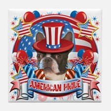 American Pride Boston Terrier Tile Coaster
