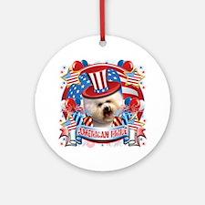 American Pride Bichon Frise Ornament (Round)