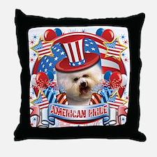 American Pride Bichon Frise Throw Pillow