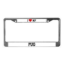 I Love My Pug License Plate Frame