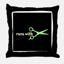 Runs with Scissors Throw Pillow