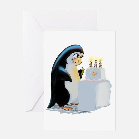 PeNgUiN BiRtHdAy CaKe Greeting Card