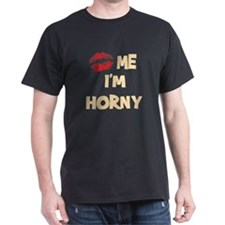 Kiss Me I'm Horny Black T-Shirt