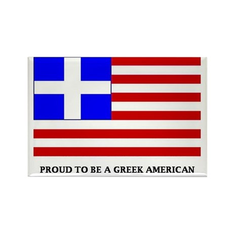Proud to Be Greek American Rectangle Magnet (100 p