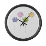 Summer Flowers Large Wall Clock