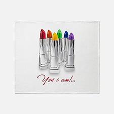 lipstick lesbian Throw Blanket